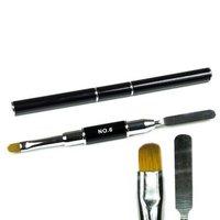 Polygel Spatula - nageltool met penseel (beide zijden te gebruiken) - kleur ZWART - in koker verpakt