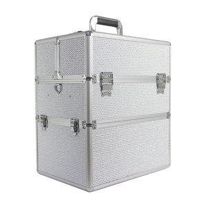 Nagelkoffer - Beauty Case XL Wit met glitters - Exclusief bij ONS verkrijgbaar - met speciale vakjes voor jouw gellakken - veel opbergruimte