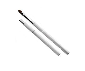 Gelpenseel Wit met zilverkleurige stipjes - Maat 8 - Nylon haar - Voor het gebruik met alle soorten gels voor nagels