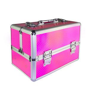 Beautycase - Nagel koffer - Make Up koffer - Hologram Unicorn Rainbow Knalroze - met super handige indeling voor nagellakken of flesjes - Alleen bij ONS verkrijgbaar